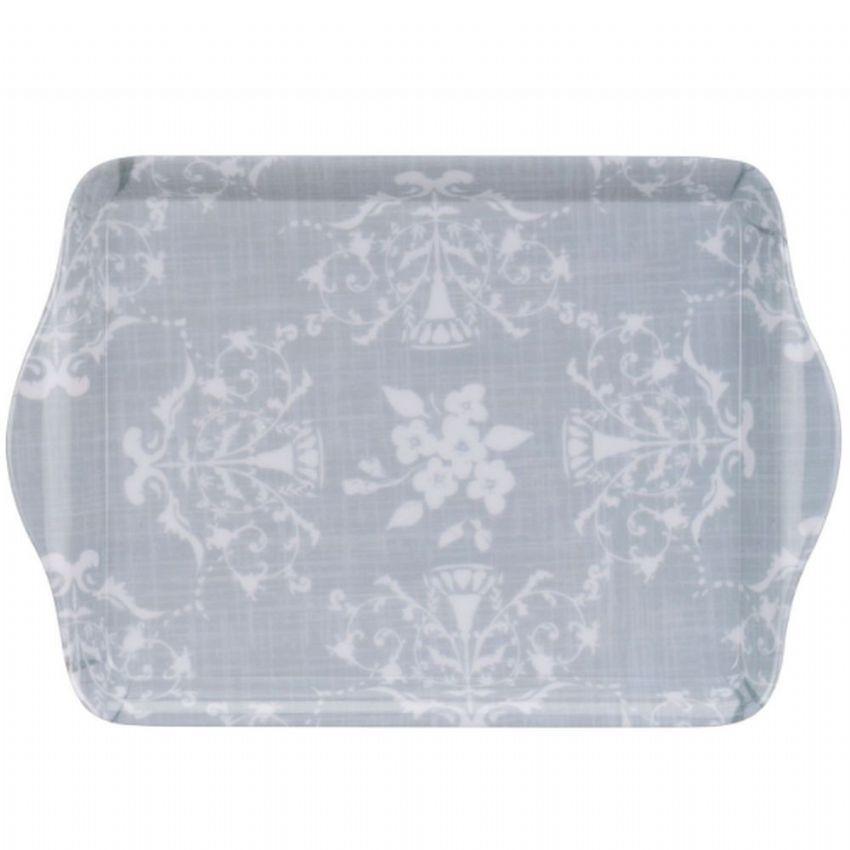 Grey Lace Patterned Mini 21cm Tea & Coffee Tray